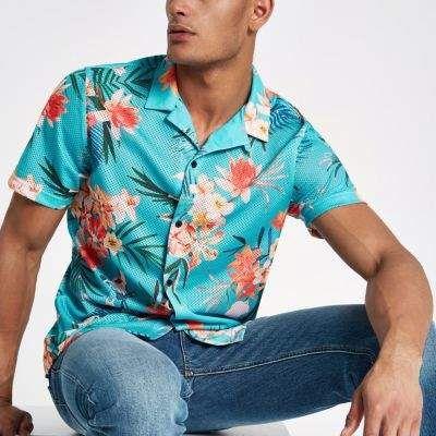 b3ec635ab5fa3 River Island Mens Blue floral print mesh short sleeve shirt ...