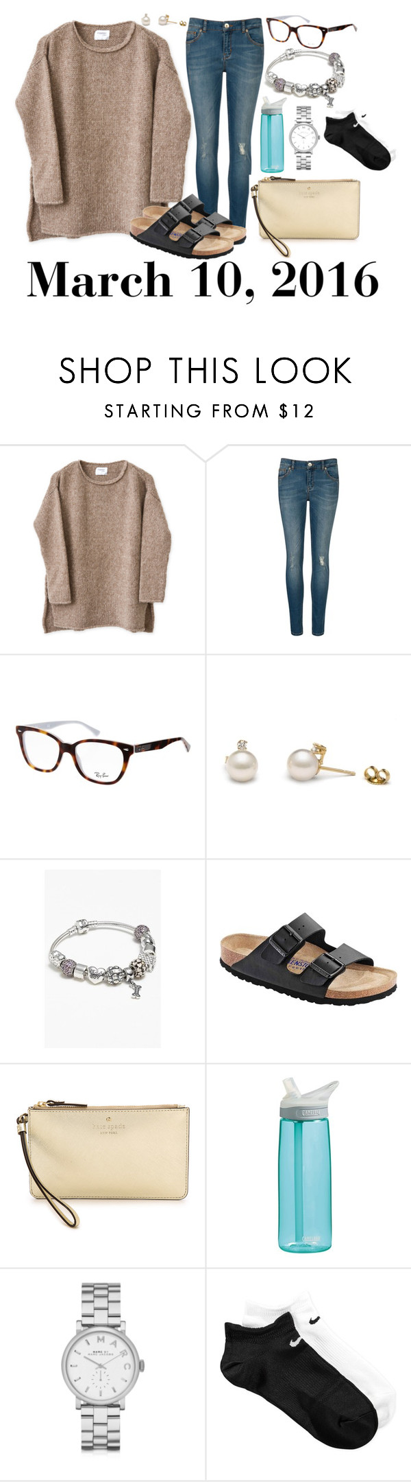"""""""March 10, 2016"""" by jennie-le on Polyvore featuring Ted Baker, Ray-Ban, Pandora, Birkenstock, Kate Spade, CamelBak, Marc by Marc Jacobs, NIKE, women's clothing and women"""