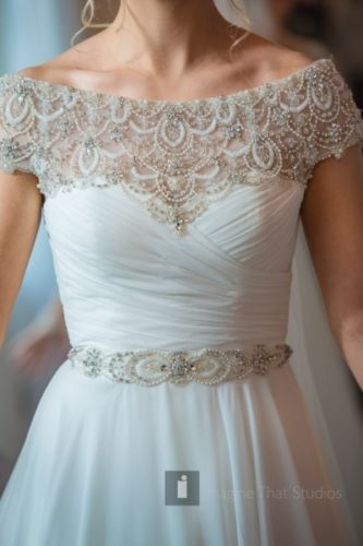 b3e405c1f5 Designer-Wedding-Dress-White-Shiffon-Ball-Gown-Beaded-Justin-Alexander-8799