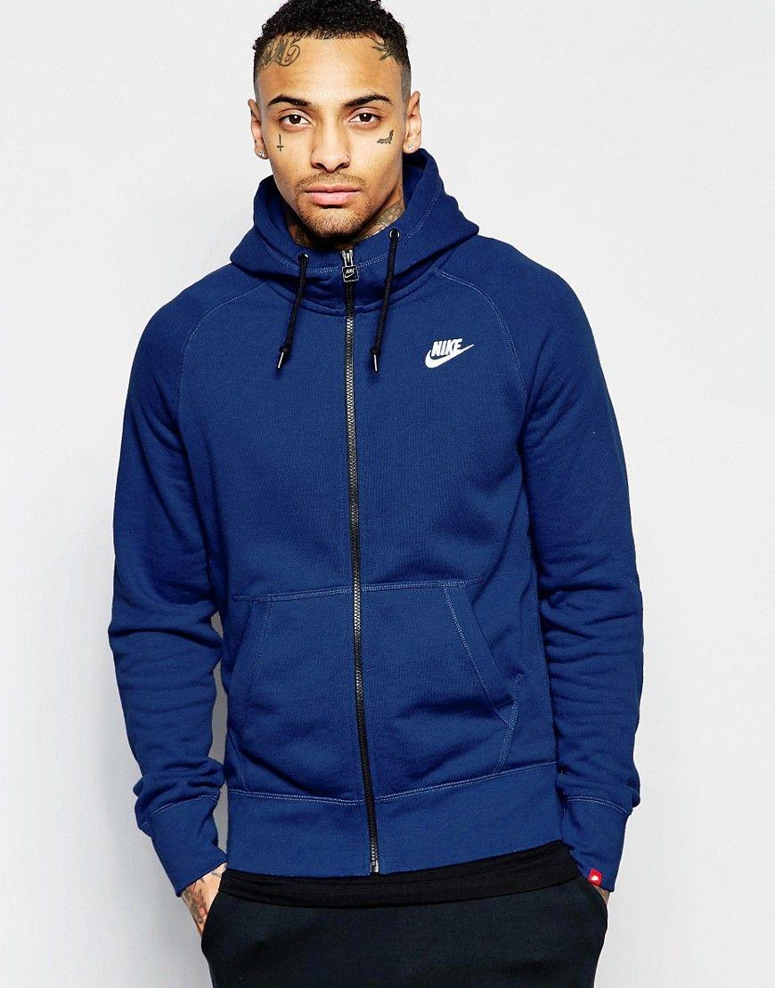 0f630d7ea8b2 Image 1 of Nike AW77 Zip Through Hoodie In Blue 545261-458