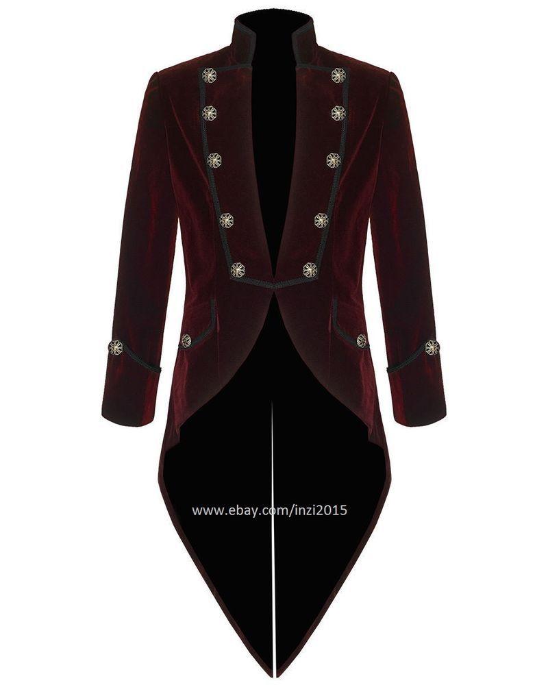 403eeb7a9b386 Mens Steampunk Tailcoat Jacket Red Velvet Goth VTG Victorian  RoyalSwag   Tailcoat