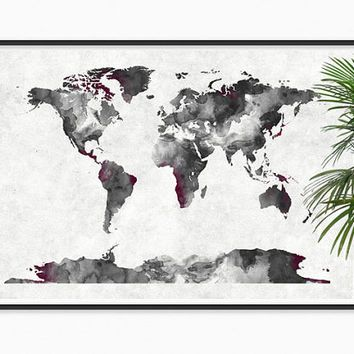 Black and white world map paper poster wall hanging on etsy 1999 black and white world map paper poster wall hanging on etsy 1999 tattoos pinterest poster wall paper walls and wall hangings gumiabroncs Choice Image