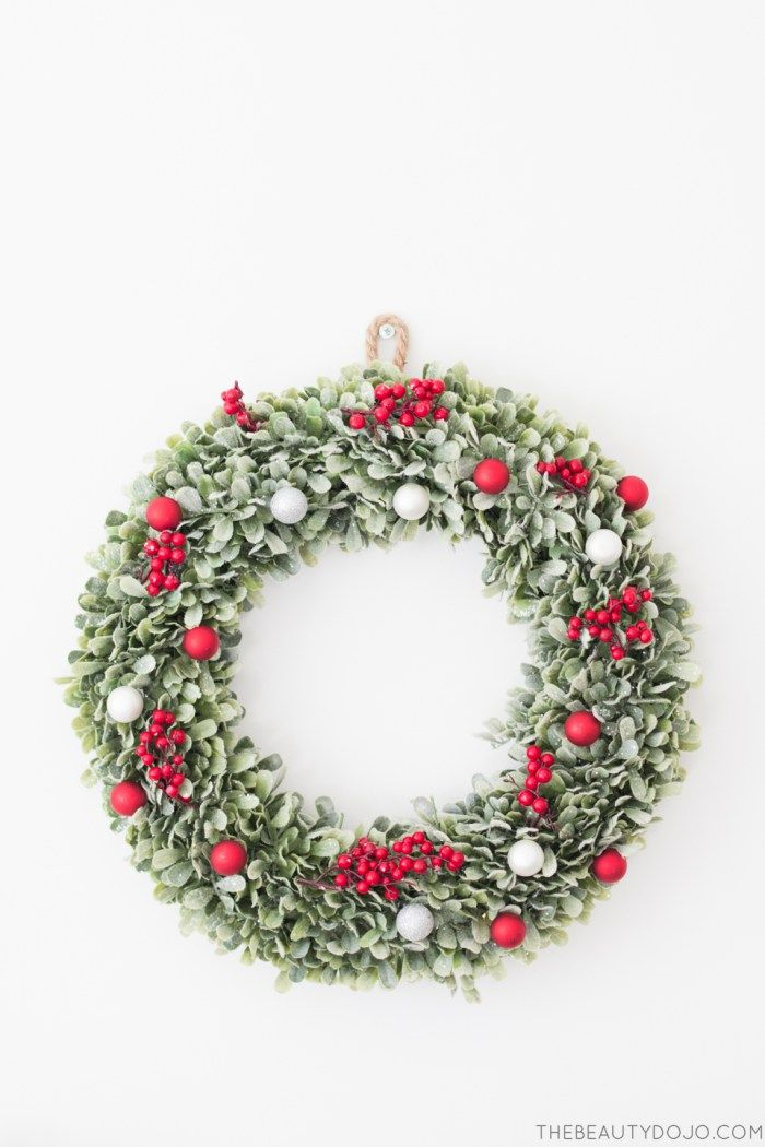 DIY red and green Christmas wreath
