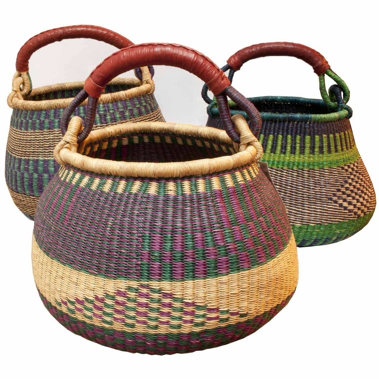 African Baskets: Bolga Basket, Gambibgo Pot With Goatskin Handle
