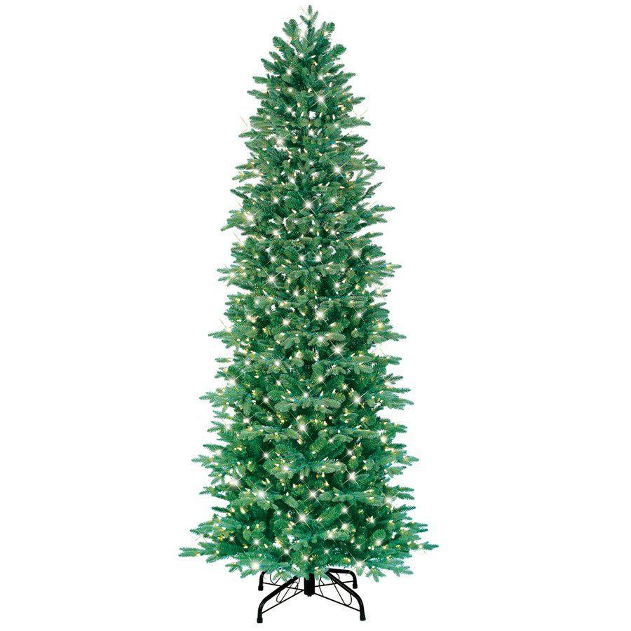 GE 7.5-ft Just Cut Slim Aspen Fir Pre-Lite Artificial Christmas Tree ...