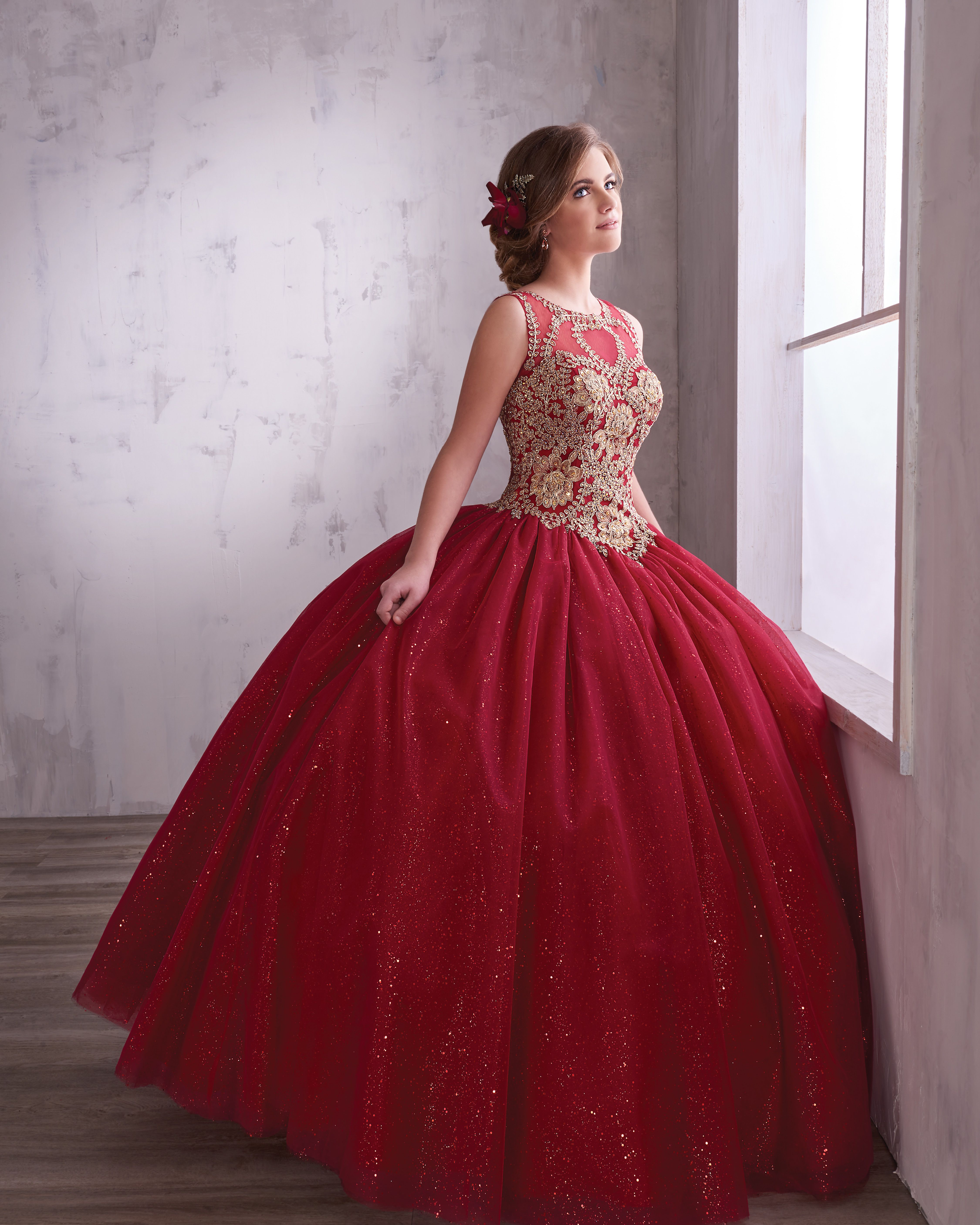 Princess Style 4q496 Sparkling Tulle Quinceanera Ball Gown With A Scoop Neck Bodice Embe Red Quinceanera Dresses Quinceanera Dresses Gold Quinceanera Dresses