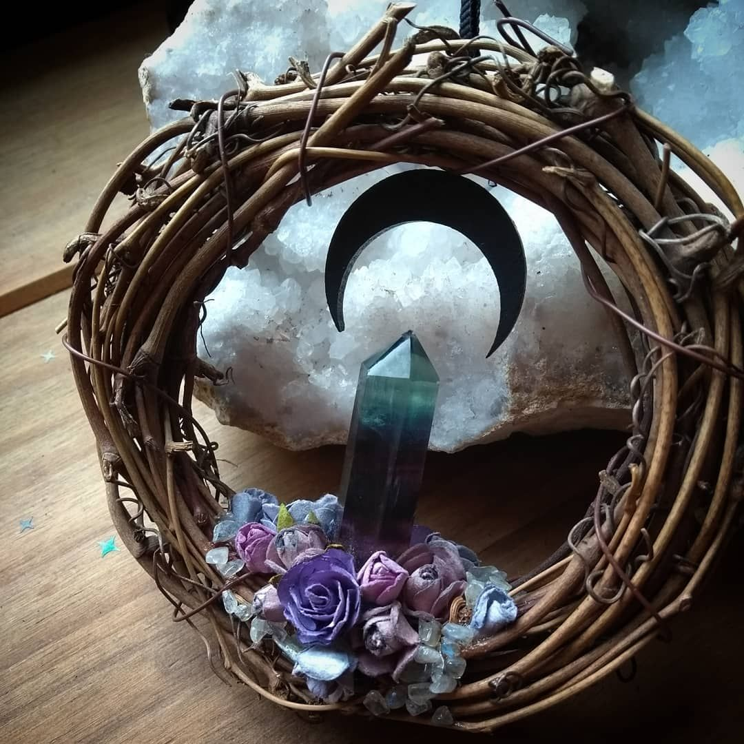 "HexBox on Instagram: ""☽ N E W T H I N G S ☾ - Crescent moon wreath with Fluorite point - HexBoxShop.etsy.com - - #crescentmoon #moon #moonmagic #moonspells…"" #wiccandecor"