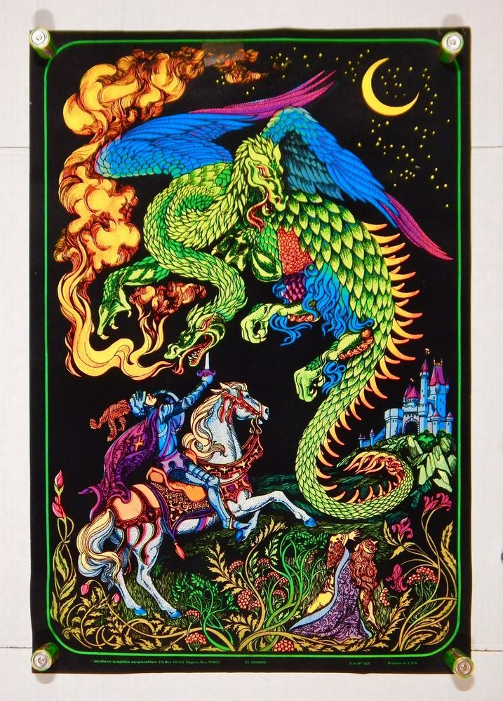 "Original 1970's Western Graphics No. 915 ""St. George"" Velvet Black Light Poster"