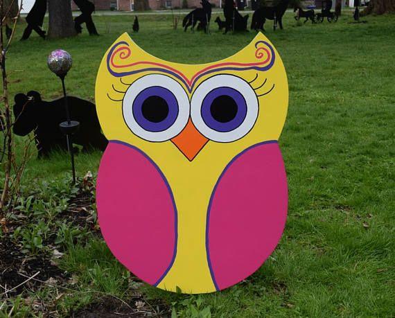 Owl Yard Stake, Yellow And Hot Pink Owl Garden Stake, Owl Yard Art,