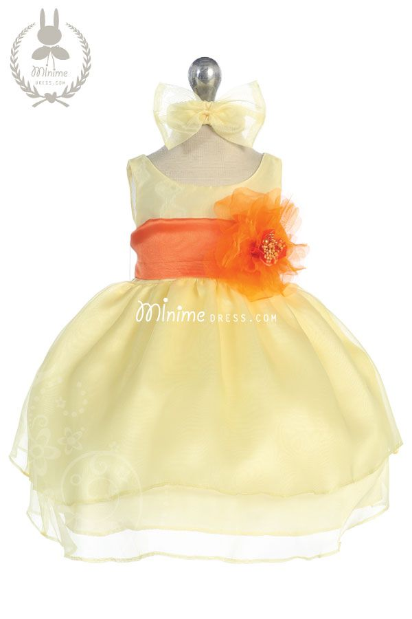 86c4c3705ff7 Cute baby yellow dress with orange sash!!! It is perfect for yellow ...