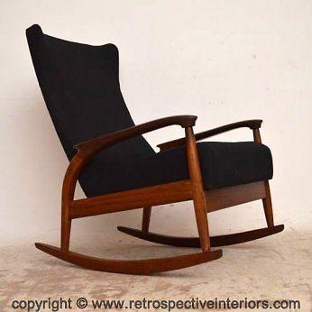 Superb Danish Teak Retro Wing Back Rocking Armchair Vintage 1960S Gamerscity Chair Design For Home Gamerscityorg