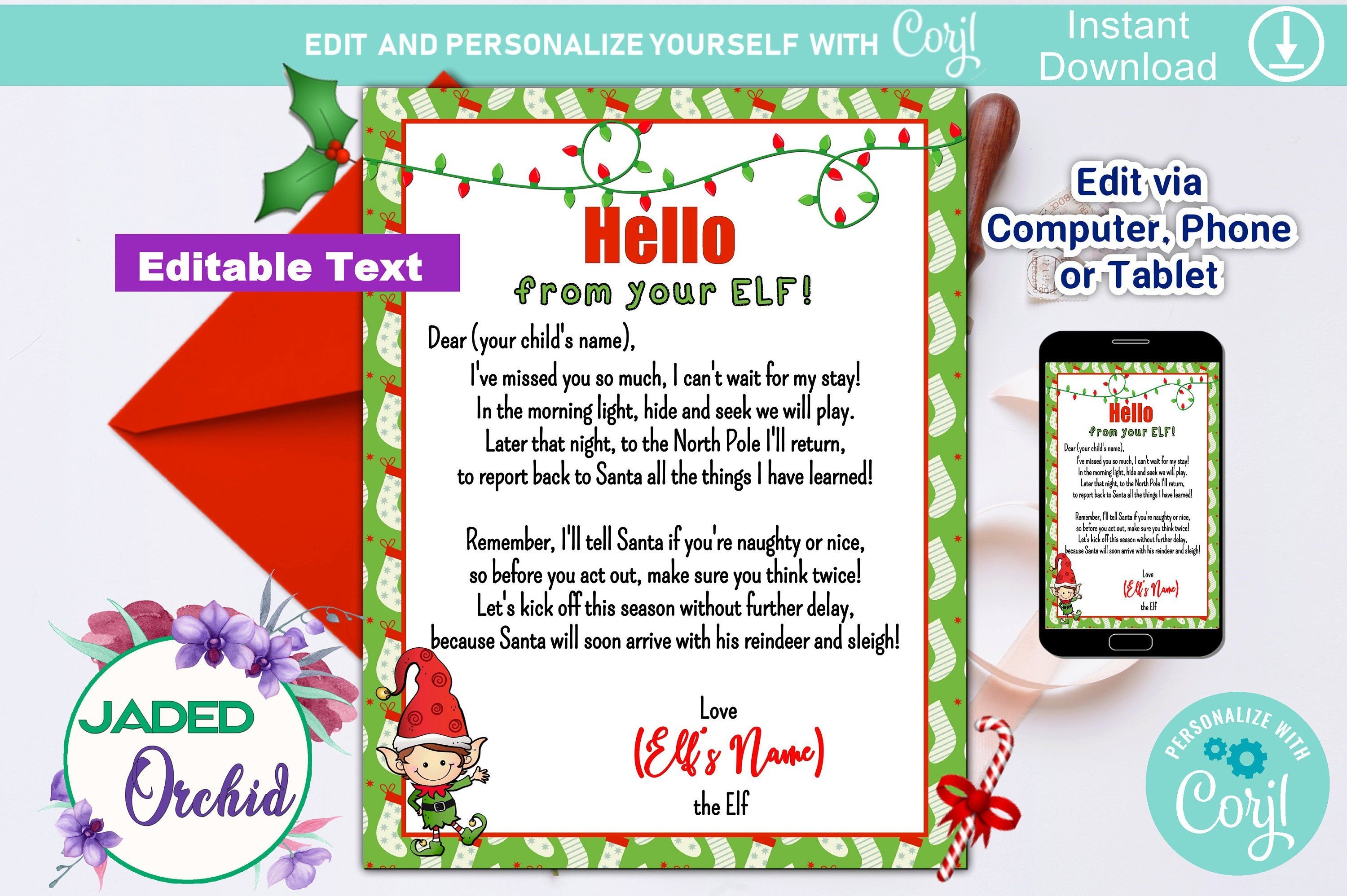 Editable Elf Letter, Naughty or Nice Elf, Personalized
