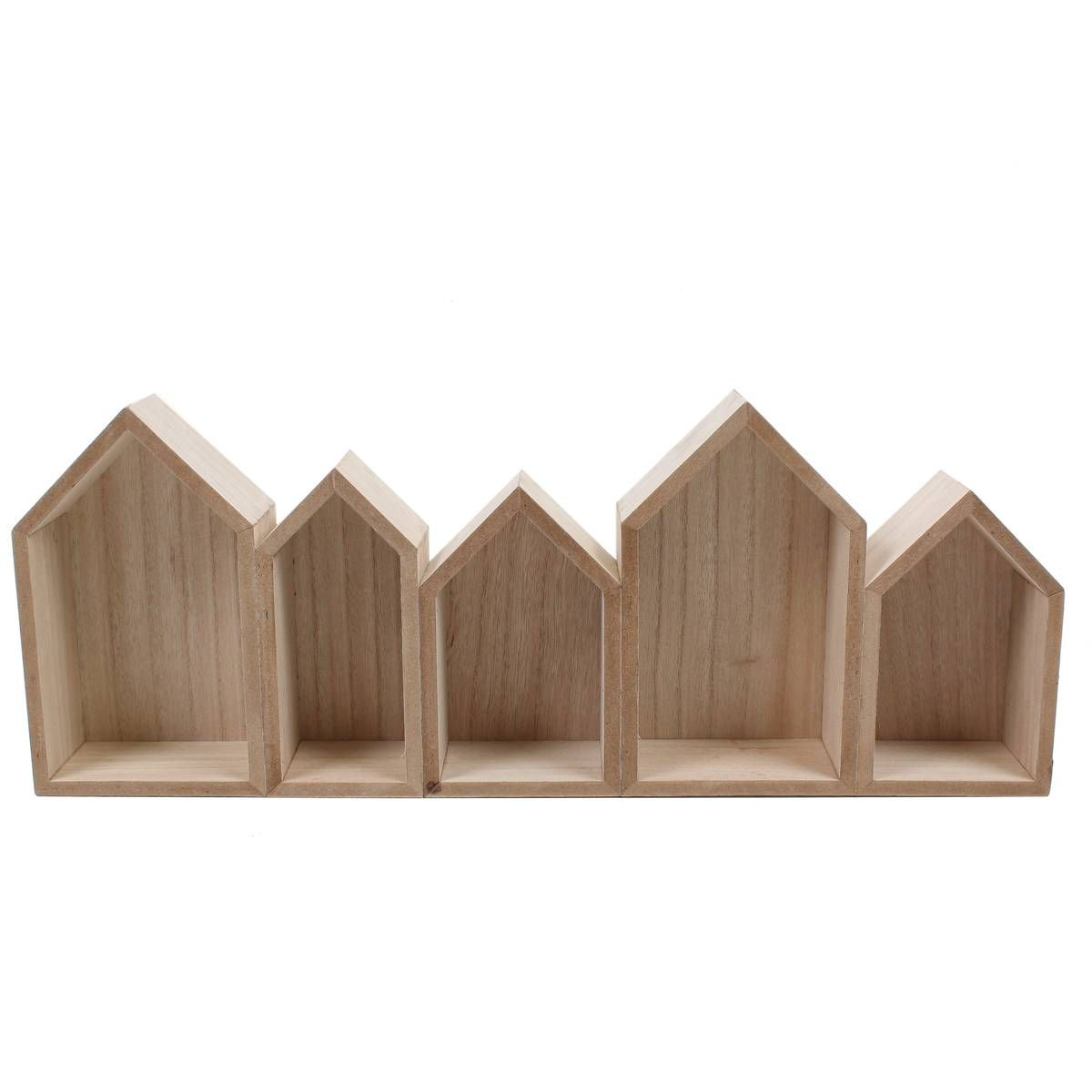 Five Wooden Houses Shelf 52 X 20 X 7 Cm | Hobbycraft | Nursery ...