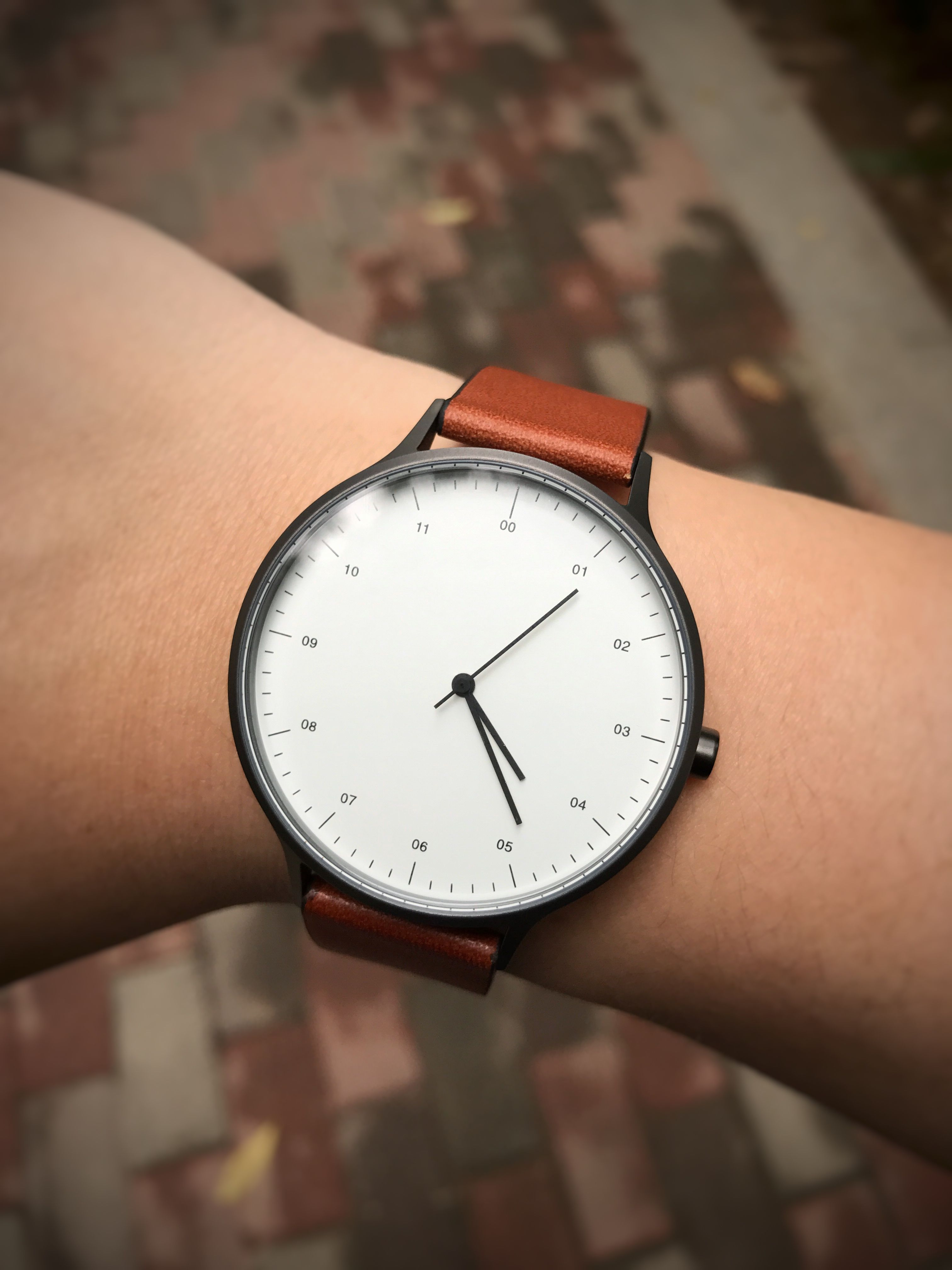 B302 Gunmetal Grey Watch On Tan Leather Strap Tan Leather Strap