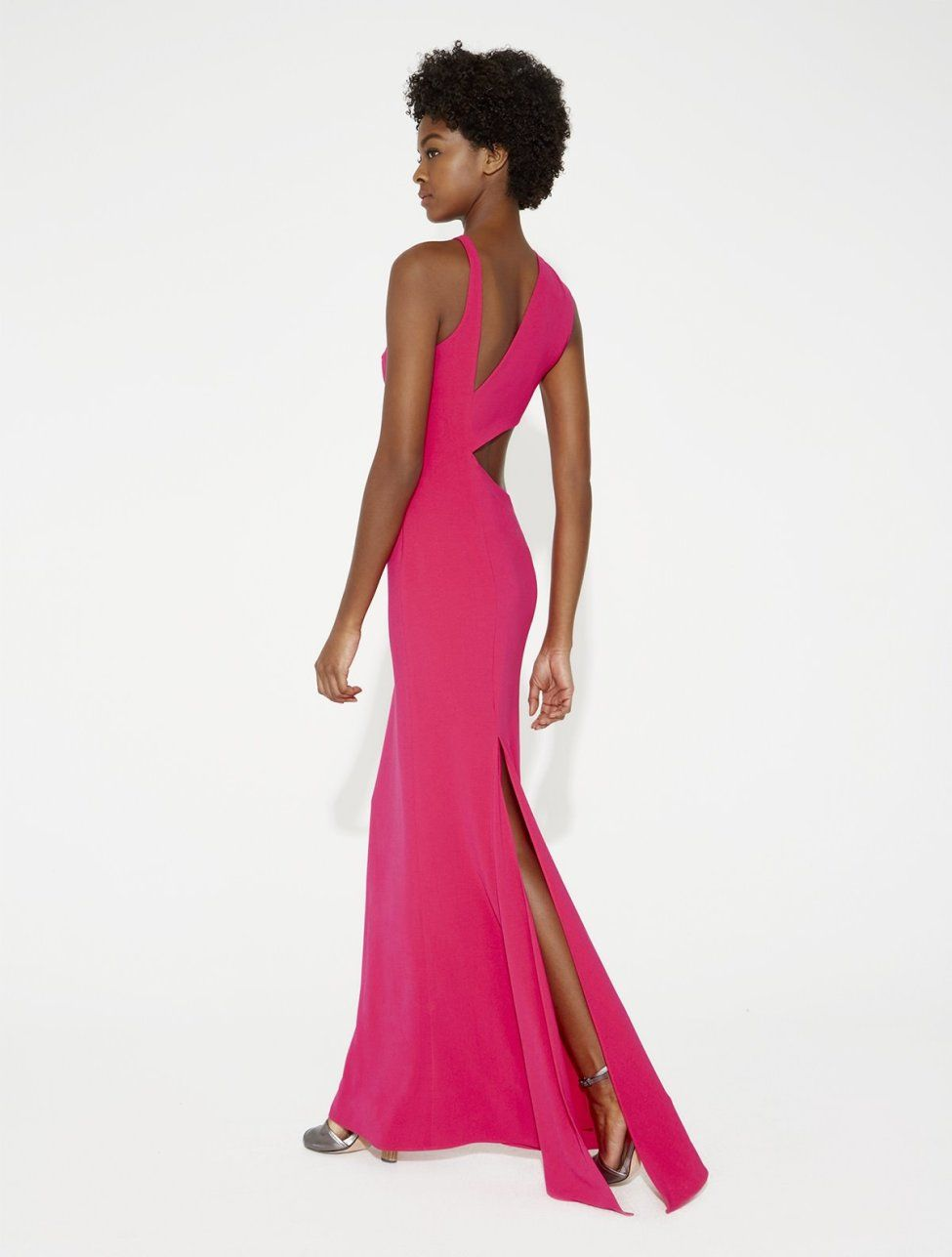 Crepe gown with back cut out clothes shoes u accessories