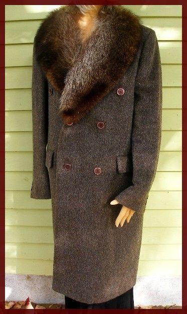 Vintage Men S Wool Coat Raccoon Fur Collar Ebay Coat
