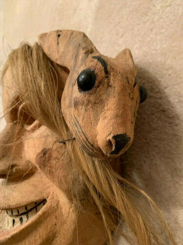 Vintage Wooden Mexican Bunny Rabbit Face Mask Hand-carved Folk Art