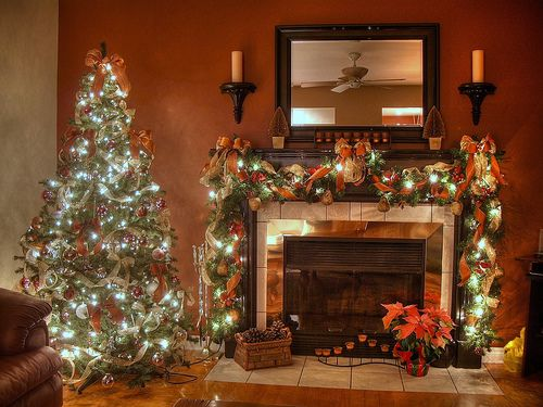 Chimney Christmas Decorations decorated christmas fireplace mantels |  fireplace mantel how