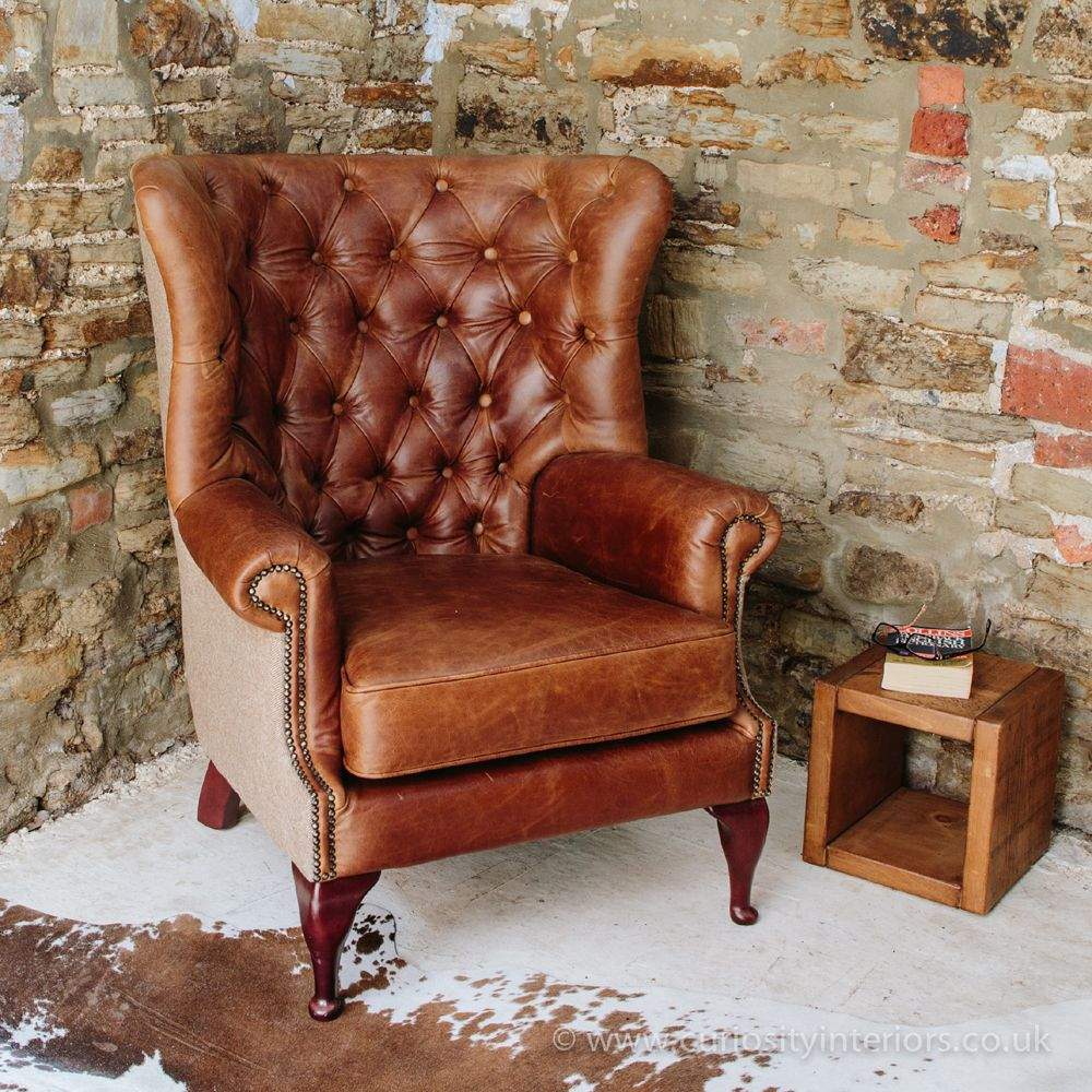 Overstuffed leather chair - Tudor Leather Armchair With Chesterfield Style Button Back Detail Tweed Wool Fabric Elements
