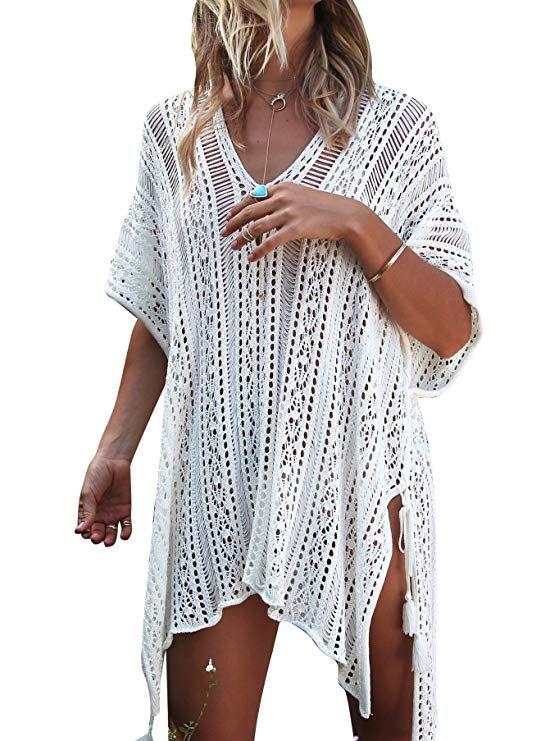 e7d83f8f75dd Jeasona Women s Bathing Suit Cover up Beach Bikini Swimsuit Swimwear  Crochet Dress