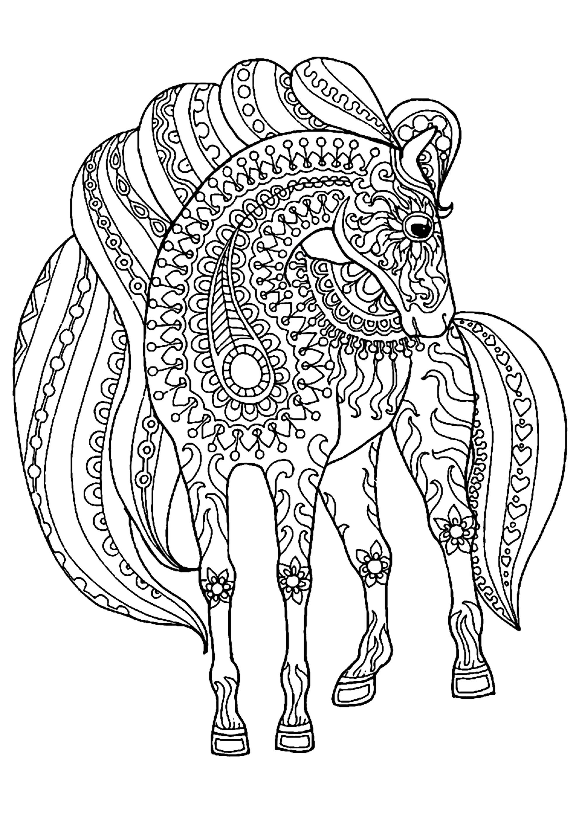 Horse With Simple Zentangle Patterns Horse With Simple Zentangle