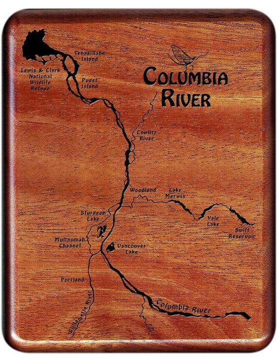 Columbia River Map Fly Fishing Box Woodland Washington