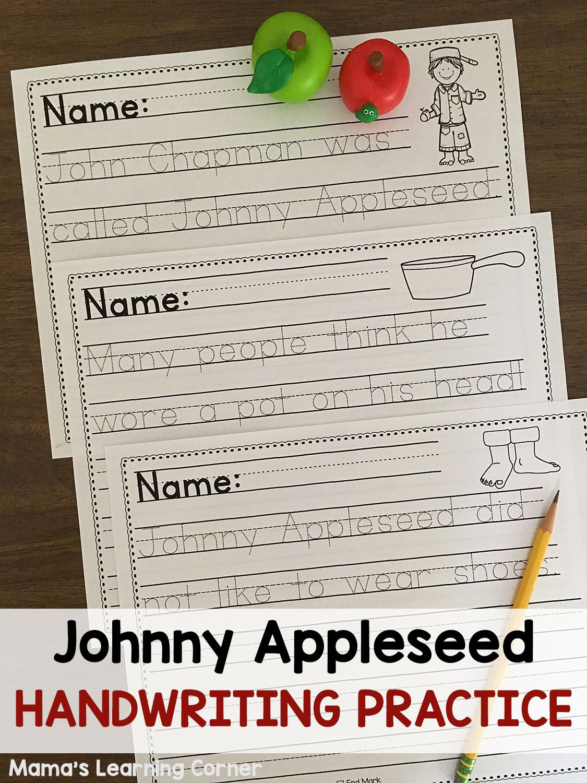 Johnny Appleseed Handwriting Practice Worksheets
