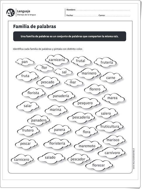 Familia De Palabras Vocabulario De 1º Y 2º De Primaria Familia De Palabras Ejercicios De Sustantivos Lectura De Palabras