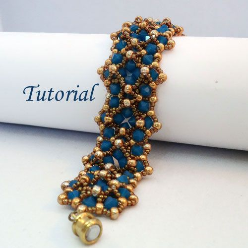 This Opal Markiza Bracelet is elegant, bead woven with a lot of Swarovski bicones and Miyuki seed beads. Step by step tutorial with photos of each step.