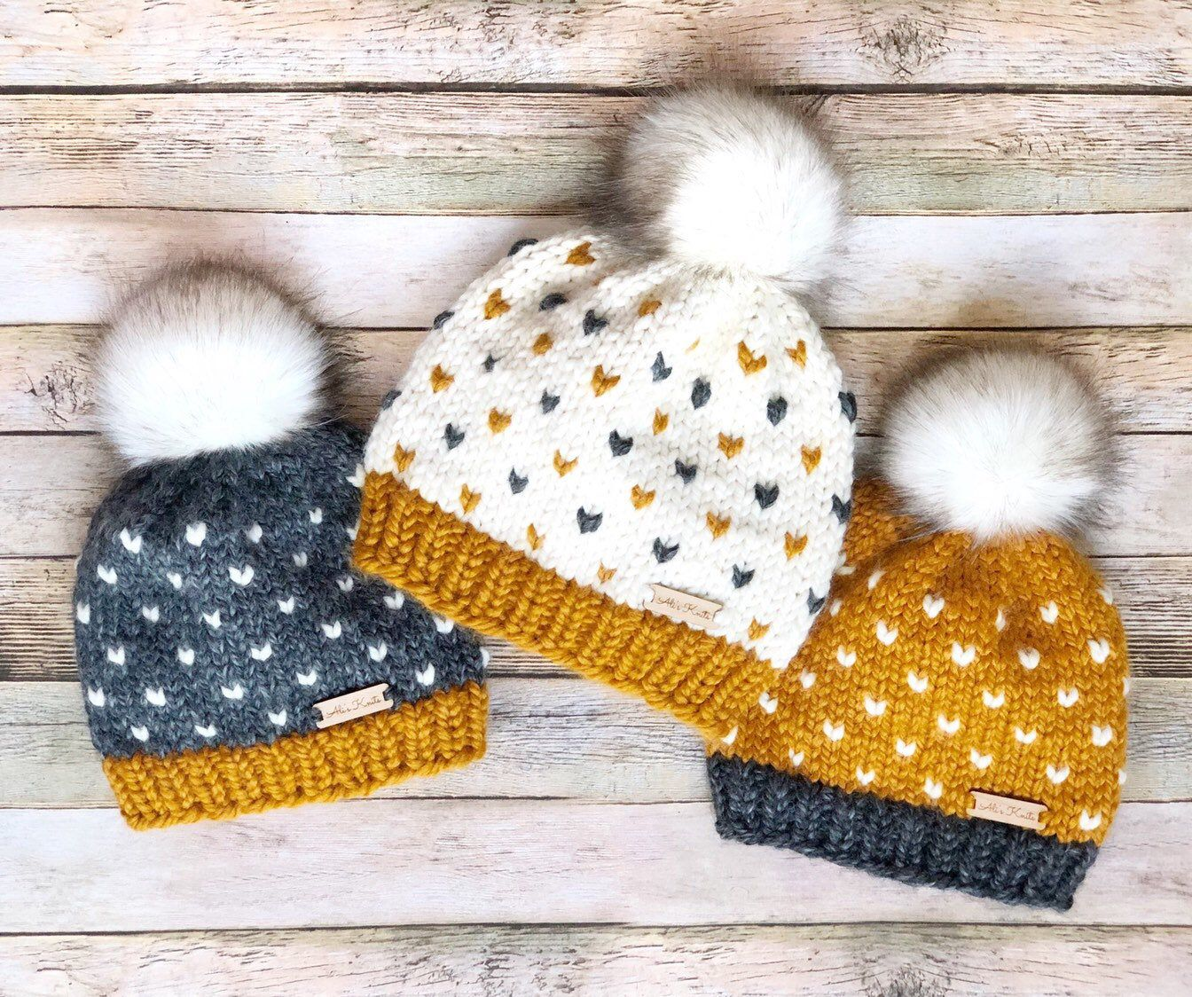 Custom Mommy And Me Matching Set, Fair Isle Beanie, Kids Twin Hats, Customized Knit Hat, Custom Pompom Beanie, Messy Bun Hat, Made to Order #kidsmessyhats
