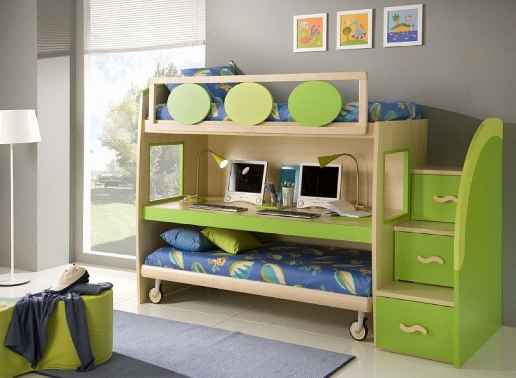 Trundle bunk bed storage stairs and a desk cool for Bedroom desk ideas