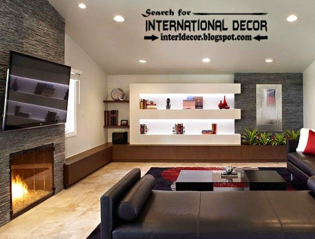 Modern Living Room Interior Design With Stylish Built In Shelves Extraordinary Living Room Modern Interior Design Inspiration