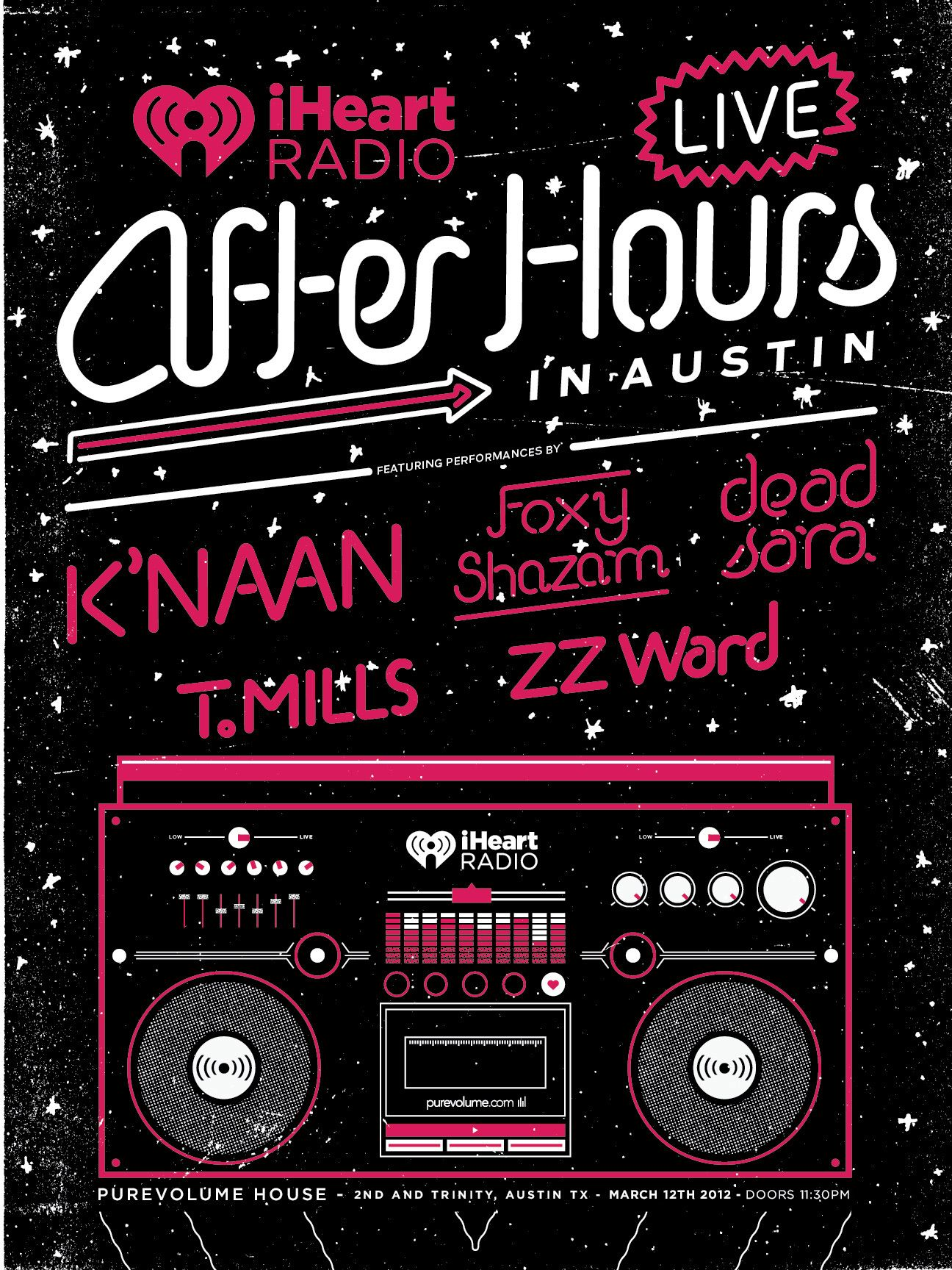We'll be hosting a late night music event at #SXSW: iHeartRadio Live: After Hours at the BuzzMedia PureVolume.com House presented by iHeartRadio! The event will feature live performances from K'NAAN, Foxy Shazam, T.Mills, ZZ Ward and Dead Sara with live sets by DJ Skee.