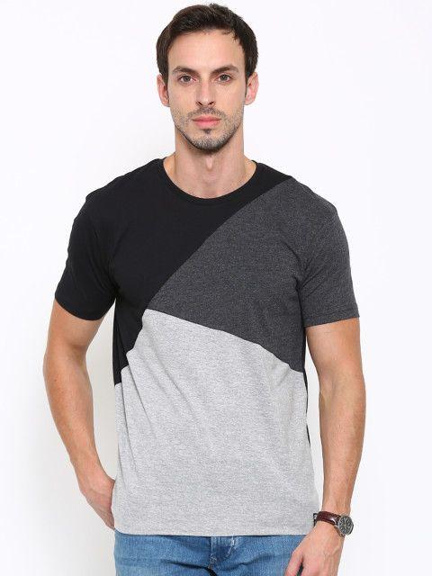 Buy LOCOMOTIVE Men Grey & Black Colour Blocked Round Neck T Shirt - Tshirts for Men | Myntra