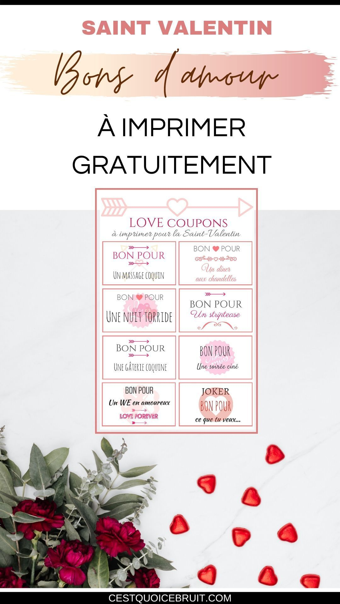 Idée Repas Pour Deux Amoureux des bons d'amour à imprimer pour la saint-valentin | a