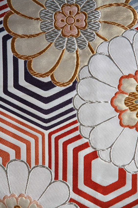 Stunning Japanese Vintage Obi With Flower And Hexagon Motif Japanese Embroidery Japanese Patterns Japanese Art