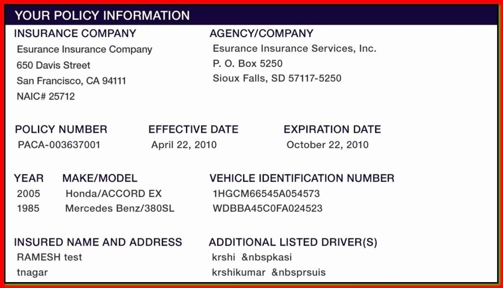 Auto Insurance Card Template Pdf Fresh Illinois Fake Insurance