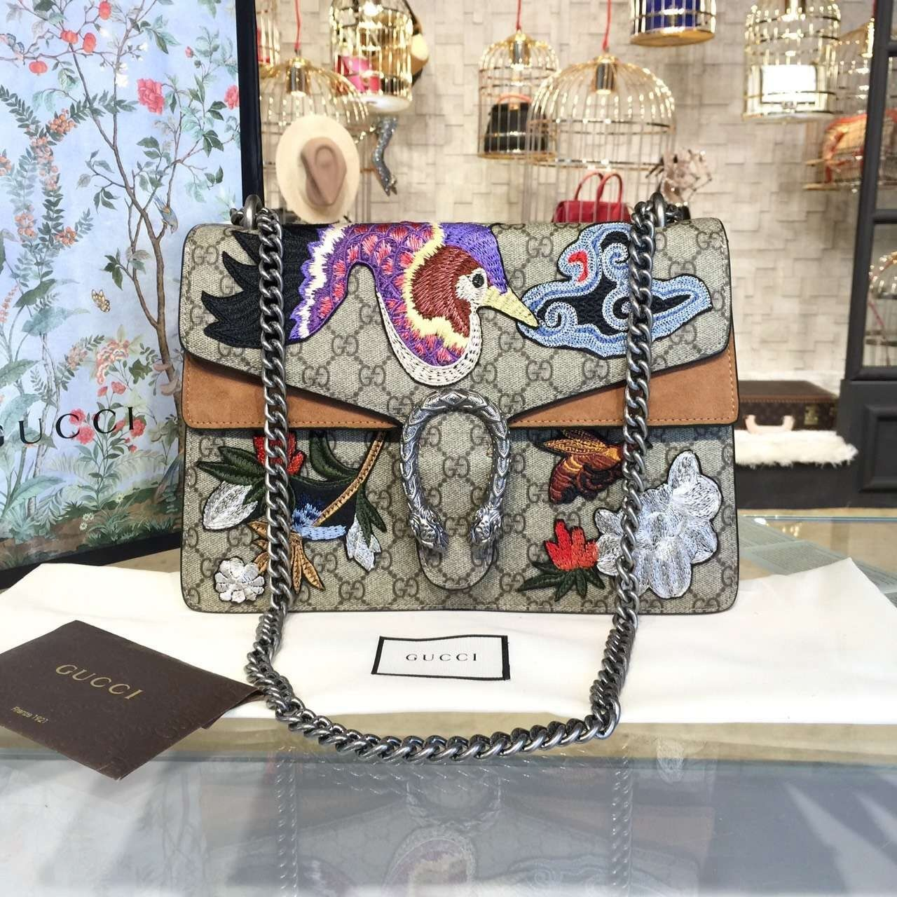 f8267fa9b57 Gucci Dionysus GG Supreme Canvas Shoulder Large Bag with Phoenix and  Flowers Embroidery Fall Winter 2016 Collection