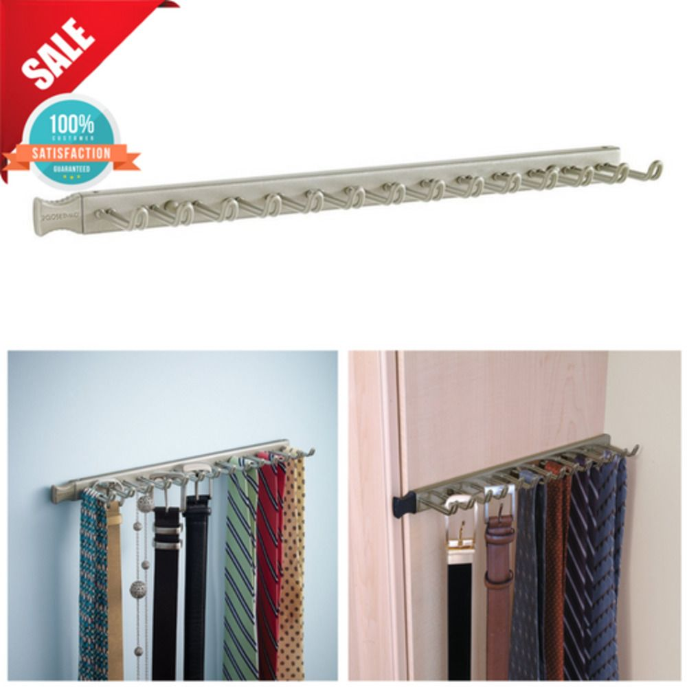 Sy Hook Sliding Tie Belt Rack Closet Cabinet Organizer Key Hanger Wall Mount Closetmaid