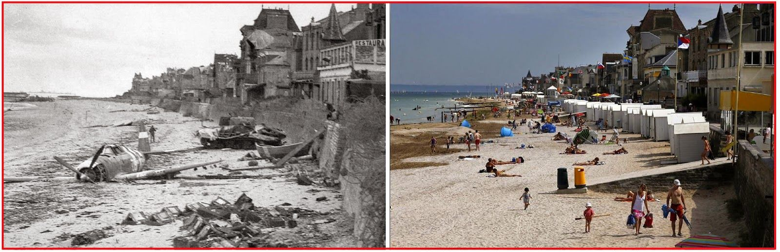 Incredible contrasts shown here as well - A crashed US fighter plane on the waterfront sometime after Canadian Forces came ashore at Juno Beach on D-Day - The old and new photos were taken at Saint-Aubin-Sur-Mer, France in June of 1944 and August of 2013.