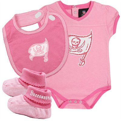 f95ad2e7 Tampa Bay Buccaneers Infant Girls 3-Piece Creeper, Bib & Booties Set ...