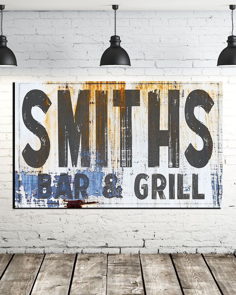 Personalized large name sign industrial farmhouse wall art