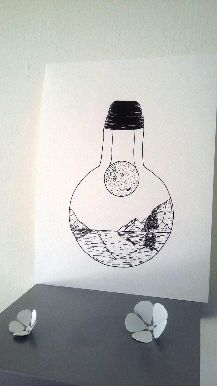 affiche illustration noir et blanc ampoule dans l 39 ombre de la lune illustration noire. Black Bedroom Furniture Sets. Home Design Ideas