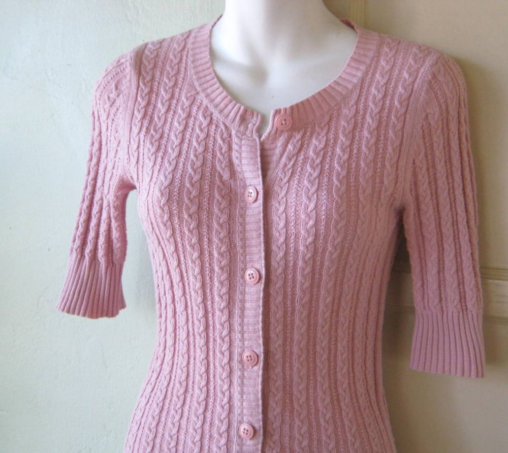 Light Pink XS-Small Form-Fitting Cardi; Short-Sleeve Button Up ...