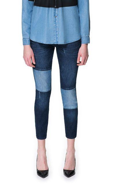 12474787a4561c PANTALON DENIM PARCHES - Jeans - Mujer - ZARA México | I like..... I ...