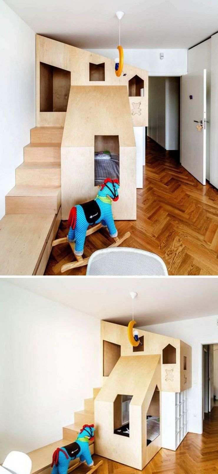 chambre enfant moderne lit cabane bois cheval bascule. Black Bedroom Furniture Sets. Home Design Ideas