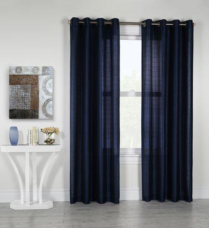 Habitat Princess Semi Sheer Grommet Window Curtain Panel Navy 52in