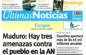 Ultimas Noticias Vargas domingo 21 de febrero de  2016