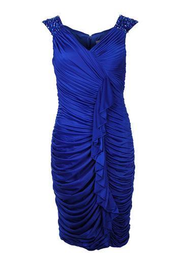 Gina Bacconi Gathered Dress, Royal Blue