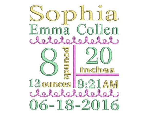 Birth Announcement Template Embroidery Subway by MyMemoryDesign